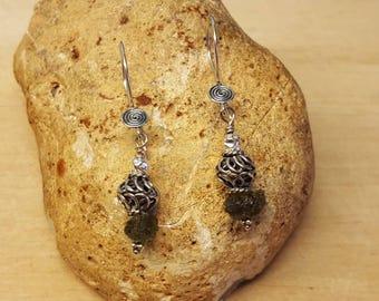 Raw Moldavite earrings. Tektite earrings. Sterling silver earrings. Reiki jewelry uk. Wire wrapped earrings