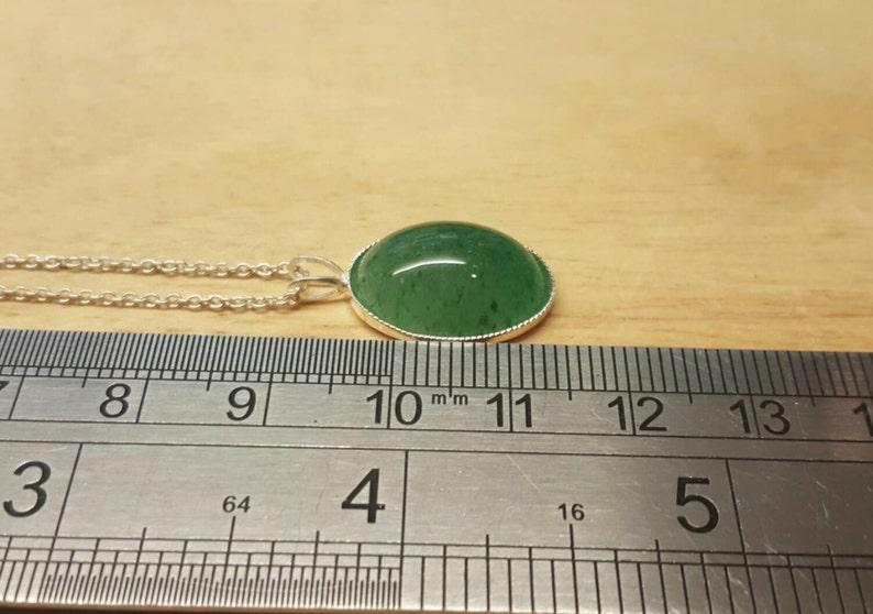 Reiki jewelry uk 925 sterling silver 18x13mm Semi precious stone necklace Green Aventurine Pendant necklace