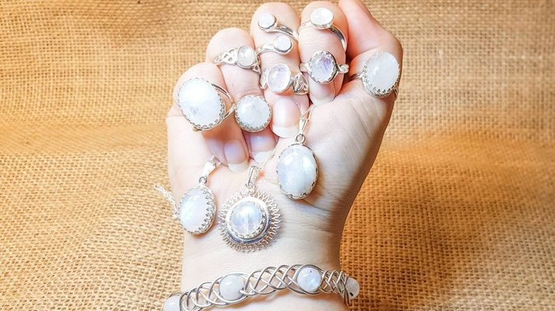 6mm stone 925 sterling silver Crystal Reiki jewelry Rainbow moonstone leaf ring Adjustable ring June Birthstone ring