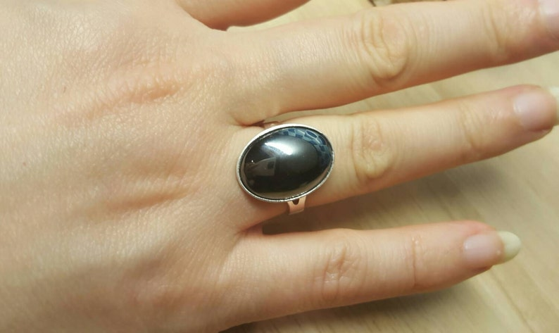 Grey semi precious stone 18x13mm 925 sterling silver rings for women Hematite ring Adjustable ring uk Reiki jewelry