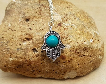 Turquoise hamsa pendant. Protection symbol. December birthstone. Reiki jewelry uk. Silver plated Wire wrapped pendant. 8mm gemstone
