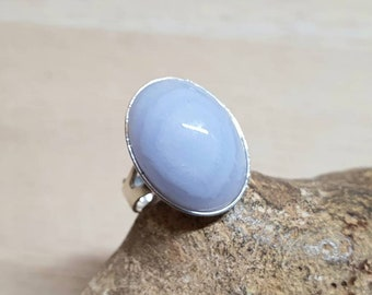Blue lace agate ring. Sterling silver women's Adjustable ring uk. Reiki jewelry. Pisces jewelry. Gemstone ring. 18x13mm stone