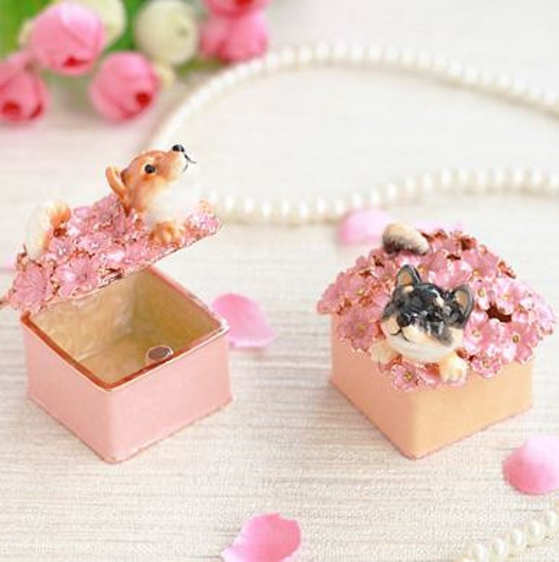 Cute Japanese Shiba inu &sakura Jewelry Box,jewelry case,present,ring  case,Japanese breed of small dog,Shiba,gift box