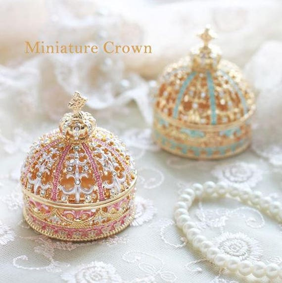 Beautiful Blue&Pink gold miniature Crown Jewelry Box