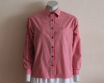 Gingham Shirt Vintage Shirt Women Blouse Red Checkered Shirt Red White Plaid Blouse Top Picnic dress Country Cowgirl Western  Medium Size