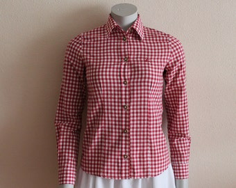 Gingham Shirt Vintage Shirt Women Blouse Red  Checkered Shirt Red White Plaid Blouse Top Picnic dress Country Cowgirl Western Small Size