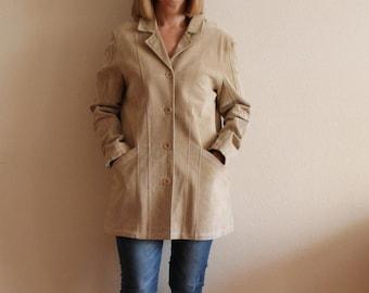 Suede Jacket Leather Jacket Women's Leather Blazer Womens Leather Jacket Beige Suede Blazer Suede Jacket Sand Beige Short Coat Large Size