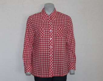 Vintage Shirt Women Blouse Red Gingham Shirt Checkered Shirt Red White Plaid Blouse Long Sleeve Top Picnic dress Country Cowgirl Western