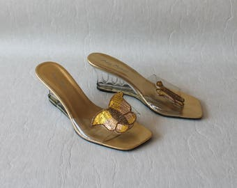 7f72f3a01f5 Gold Clear Plastic Shoes Women s Sandals Slip on Sandals Summer Shoes Clear  Plastic Sandals Cut Out Sole Open Toe High Heel Slingback Shoes