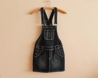46903263a6 Blue Denim Jumper Dress Overall Bib Dress Cotton Jeans Sarafan Mini Skirt  Skirtalls Grunge Jumpsuit Hipster