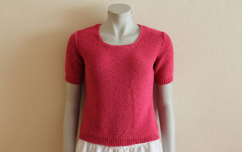 Pink Sweater Summer Pullover Pink Fucsia Knit Sweater Knitted Slouchy Pullover Romantic Cardigan Short Sleeve Blouse Top Cotton Blend Medium