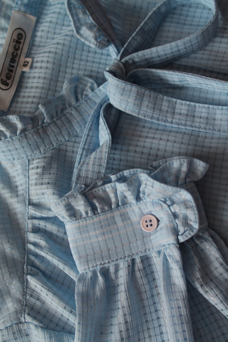 Vintage Blouse Blue Women Blouse  Women/'s Shirt Long Sleeve Shirt  Office Secretary Top Tie Neck Pussy Bow Blouse Back to School