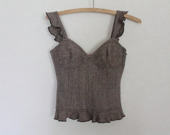Brown Wool Corset Blouse Prom Party Dress Bodice Sweetheart Bust Victorian style Open back Top