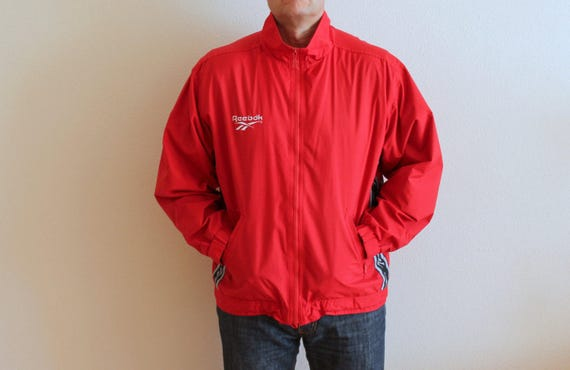 Vintage Reebok Sports Jacket Red Windbreaker Mens Hipster Jacket Gentlemen/'s Parka Sportswear Lightweight Jogging Jacket Extra Large Size