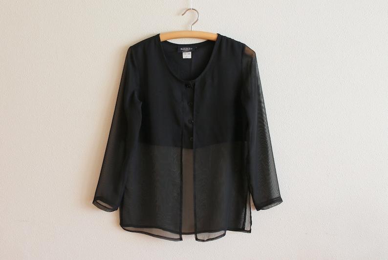 Black Blouse Women Blouse Sheer Black Chiffon Women/'s Blouse Long Sleeve Shirts Silky  Romantic Top Button up