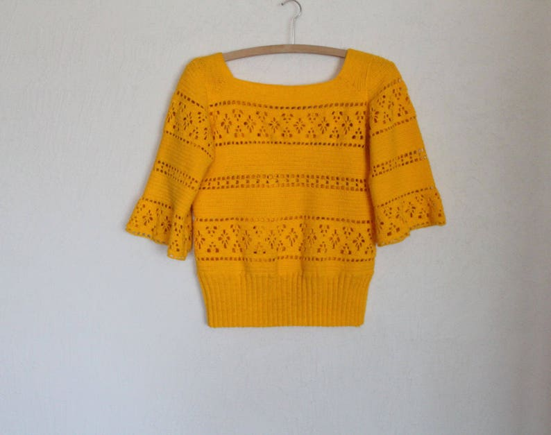 Egg Yellow Top Sweater Knit  Jumper Blouse 34 Sleeve Crocheted  Romantic