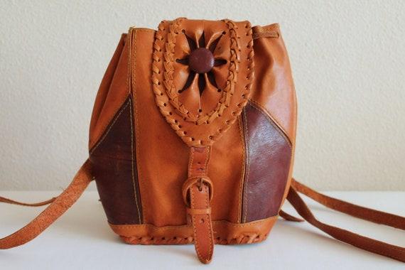 Vintage Brown Backpack Small Rucksack Genuine Leather Shoulder Bag @316-54