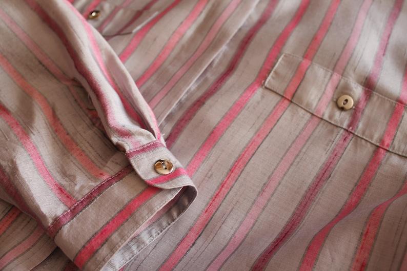 Vintage Blouse Women Blouse Striped Women Blouse Long Sleeve Top   Button Up Shirt Gray Pink Striped Sweetheart Secretary