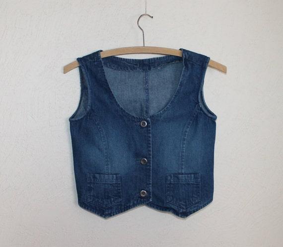 Kids Vest Denim Vest Blue Denim Vest Jean Waistcoat Metal Button Womens Country Western Boho Sleeveless Jean Jacket Extra Small Size