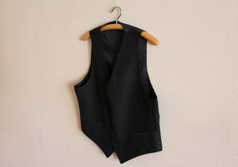 Mens Vest Black Vest Black Striped Mens Vest Black Gentlemen/'s Vest Formal Fitted Waistcoat Edwardian Victorian Renaissance Steampunk