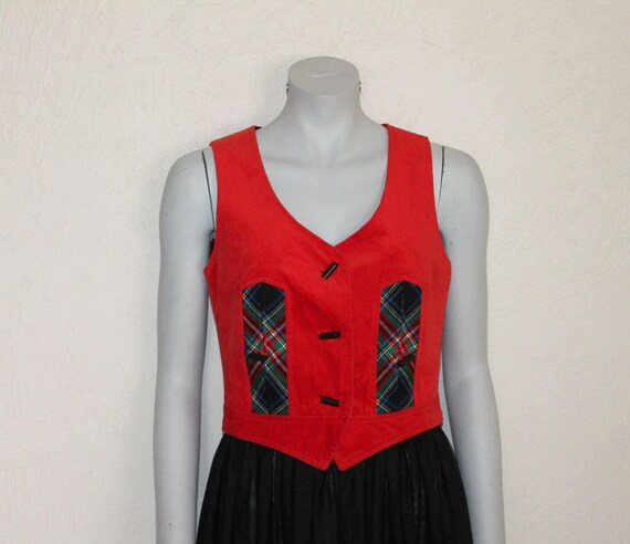 Women's Vests Hot Red  Vest Womens Vest Red Velvet