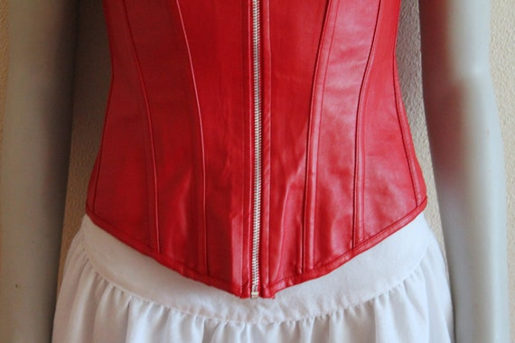 Red Corset Faux Leather Corset Red Leather Corset… - image 3