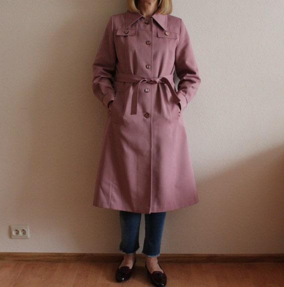 e35f3299e437 Vintage Coat Women s Coat Pink Women Trench Coat Belted