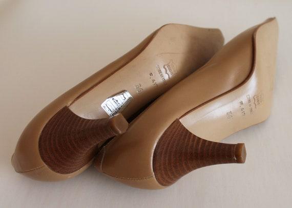 Brown Shoes Brown Genuine Leather Women Shoes Pointed Toe Pumps Vintage Shoes 90s Beige Pumps Party Women's Shoes US 6 EUR 36 UK 3.5