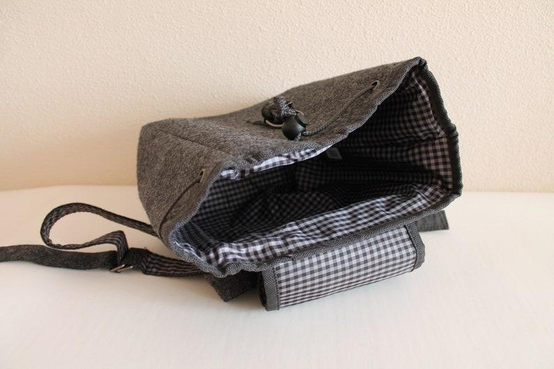 Dirndl Bag Gray Backpack Small Shoulder Bag Traditional Bag Oktoberfest Rucksack