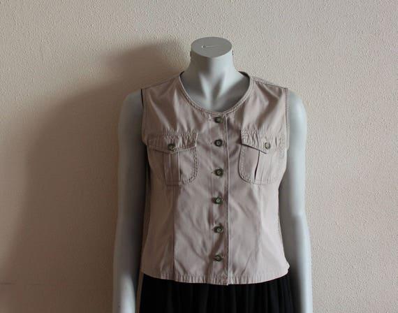 Women's Vest Beige Vest Beige Women Vest Romantic