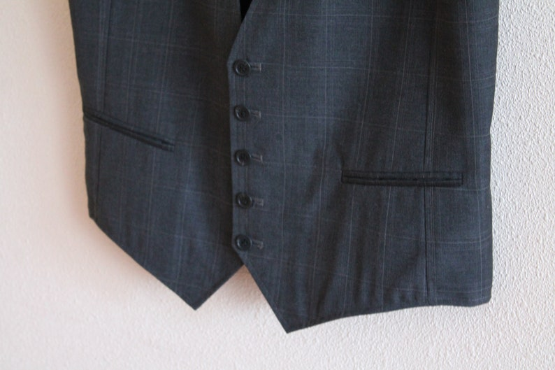 Mens Vest Grey Vest Gray Plaid Gentlemen/'s Vest Checkered Mens Vest Formal Fitted Gray Wool Blend Waistcoat Edwardian Victorian Steampunk