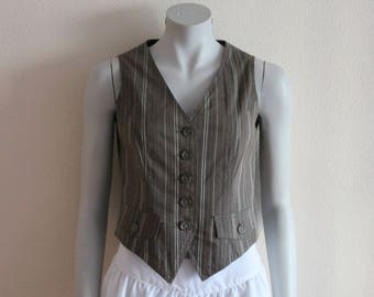 Women's Vest Brown Vest Brown Striped Women Vest  Fitted Waistcoat Steampunk Medium Size