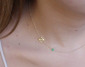 0d43f1f9d 14k solid gold necklace initial necklace name necklace monogram necklace  diamond necklace solitaire necklace Birthstone necklace