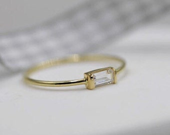 14k solid gold stackable ring  baguette ring minimalist ring stacking ring