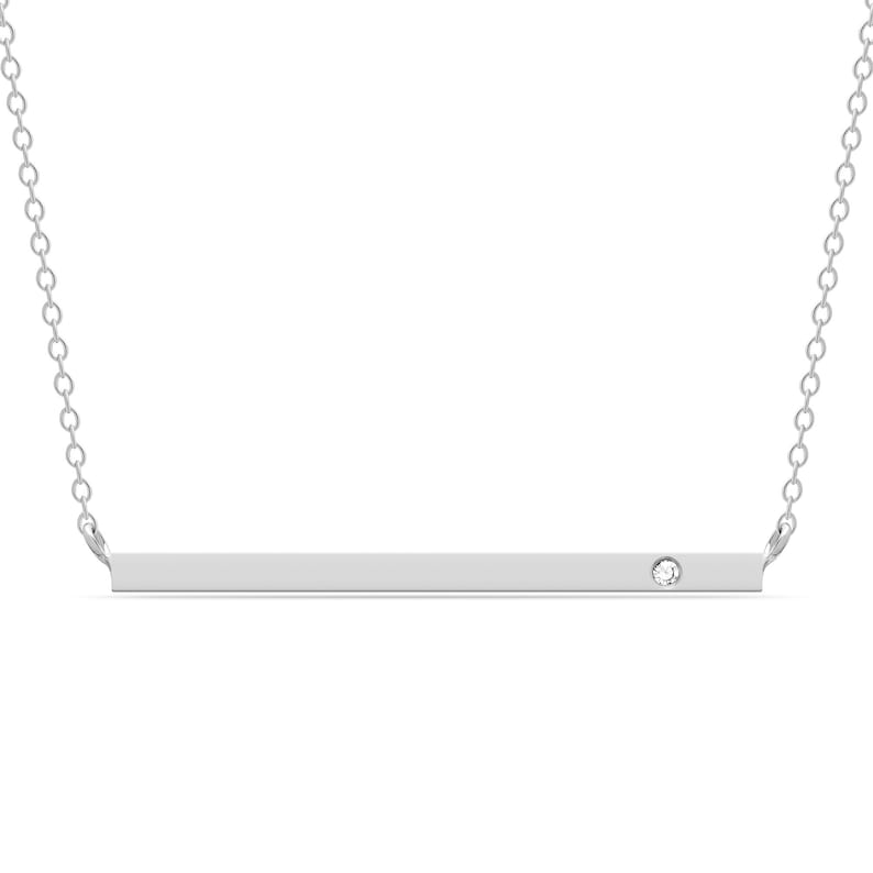 14k solid gold 2mm X 1 14 inch long genuine diamond bar necklace minimalist necklace