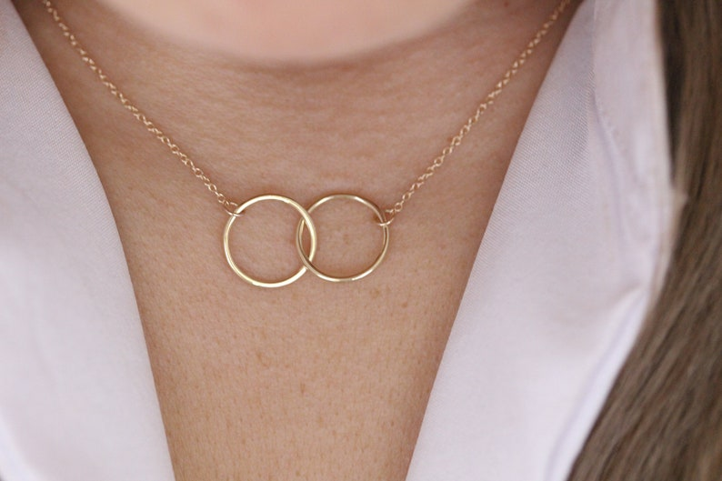 14k Solid Gold Necklace  Infinity Necklace  Meaningful Necklace  Love Necklace