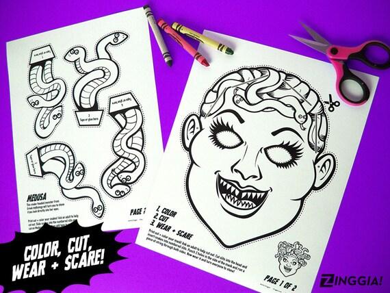 Para imprimir Medusa colorear la máscara máscara de halloween   Etsy