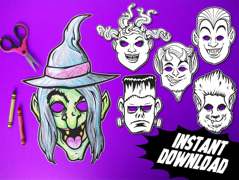 Halloween Masks For Kids.Printable Monster Coloring Masks 6 Kids Paper Halloween Masks Diy Halloween Costume Parties Instant Download Pdf Photo Booth Props