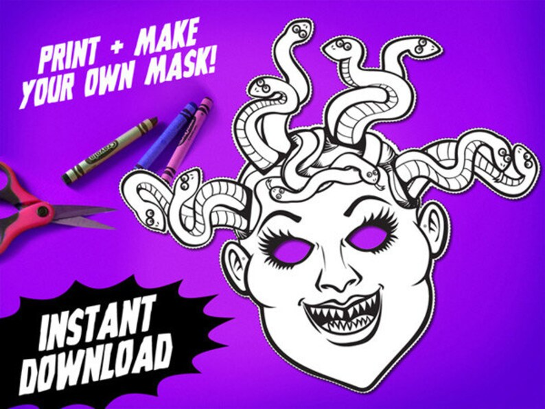 Stampabile Medusa Da Colorare Maschera Maschera Di Halloween Etsy