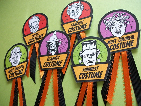 halloween costume award badges cute monster prize and contest etsy