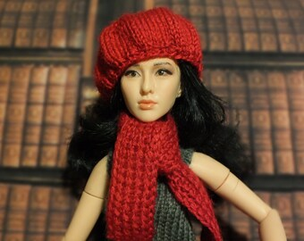Handmade Blythe / Azone / Obitsu / Barbie doll red set hat scarf
