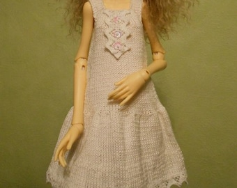 Handmade knitted Doll Chateau Kid BJD MSD cotton dress
