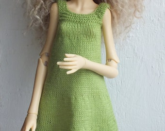 Handmade knitted wool light-green dress for Doll Chateau Kid MSD