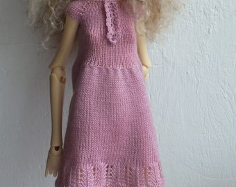 Handmade knitted wool dark-pink dress for Doll Chateau Kid MSD