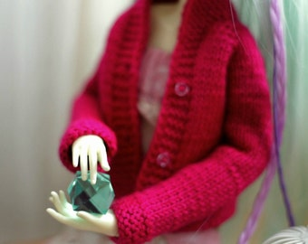 Handmade knitted wool short jacket/cardigan for Doll Chateau Kid and any MSD doll magenta color