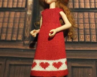 Handmade Valentine Blythe / Azone / Obitsu / Barbie doll red dress with hearts