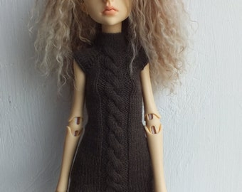 Handmade knitted wool dark-khaki dress for Doll Chateau Kid MSD