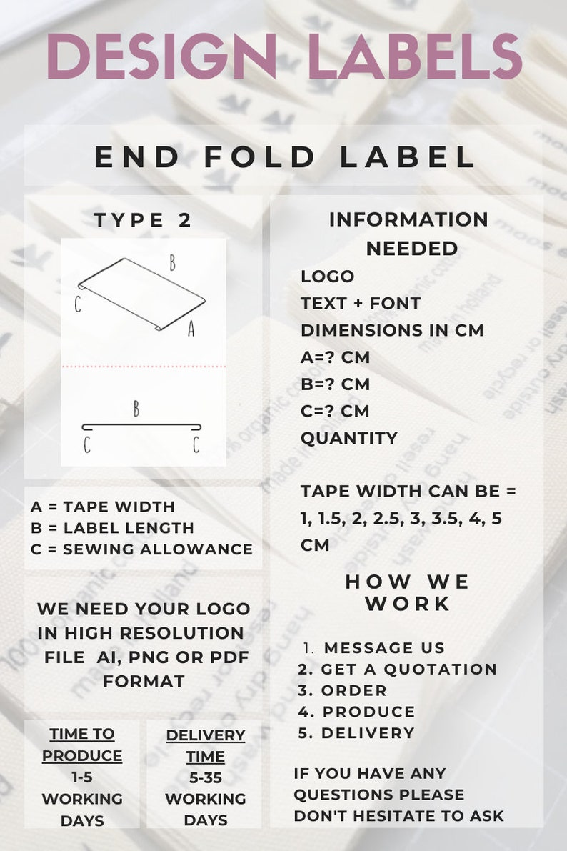 Best Offer 30 = 15 15 Custom Design Fabric Clothing Labels Design with Your Text or Logo Natural Organic Label Clothing Label Garment Tags