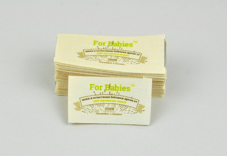 25 custom design fabric labels natural label designer t-shirt  label 25pcs with Direct full-color printing on fabric