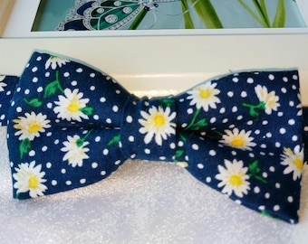Neck Tie Bow Tie Pocket Square Blue White Daisy Floral Flower Set Formal Gift UK